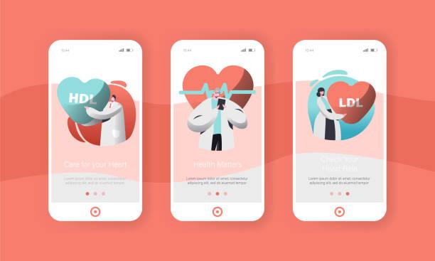 bildbanksillustrationer, clip art samt tecknat material och ikoner med manliga och kvinnliga kardiologi läkare eller hälso-och sjukvård arbetare app mobilsida ombord skärmen set. kontrollera patientens puls puls eller sjukvård för webbplats. flat tecknade vektorillustration - kardiolog
