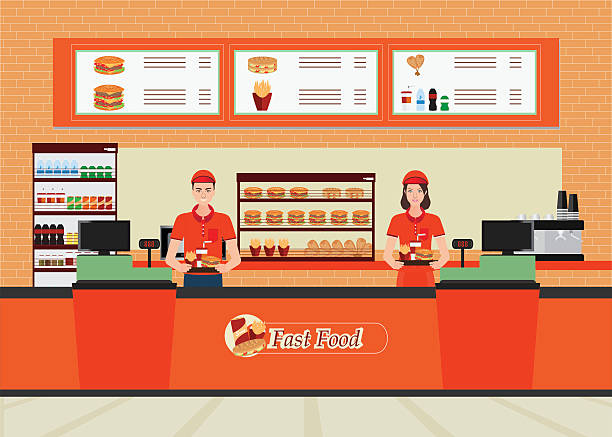 Male and female cashier at fast food restaurant  interior. vector art illustration