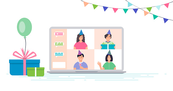 Male and female characters are celebrating their birthday online. A group of characters in a birthday cap on a laptop screen. Online communication concept. Internet party, meeting with friends.