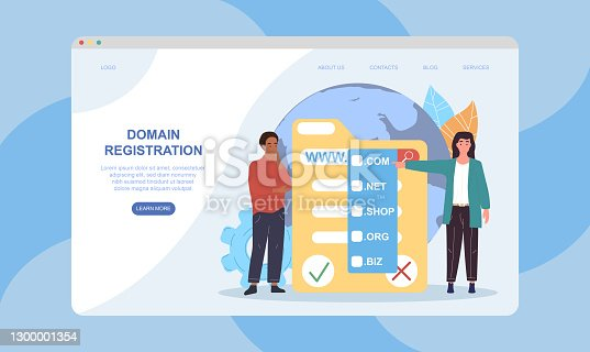 istock Male and female characters are registrating domain 1300001354