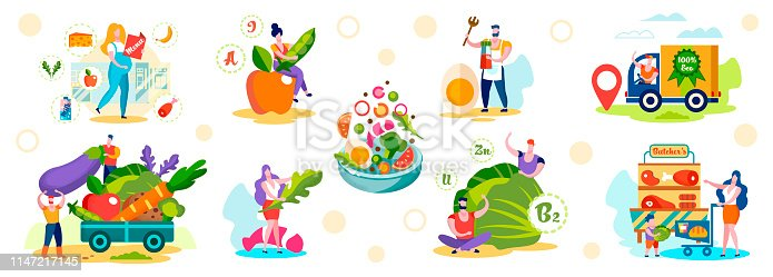 Set of Male and Female Characters Choosing Healthy Eco Food Nutrition. Men and Women Buying Farm Meat, Eggs, Greenery, Ordering and Delivery Products to Customers. Cartoon Flat Vector Illustration.
