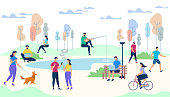 Crowd of People Performing Summer Outdoor Activities. Walking Dogs, Riding Bicycle, Fishing, Meet Friends. Male and Female Characters Lifestyle on Park Background. Cartoon Flat Vector Illustration.