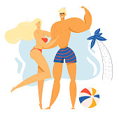 Male and Female Characters Spend Time on Exotic Resort Beach, Young Sexy Girl in Bikini and Sporty Man Posing on Seaside Background with Palm Tree and Ball, Leisure. Cartoon Flat Vector Illustration