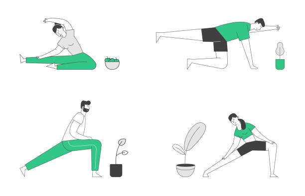 Male and Female Characters Sport Activities Set. People Doing Sports Stretching Exercise, Fitness Workout in Different Poses. Healthy Lifestyle, Leisure. Cartoon Flat Vector Illustration, Line Art Male and Female Characters Sport Activities Set. People Doing Sports Stretching Exercise, Fitness Workout in Different Poses. Healthy Lifestyle, Leisure. Cartoon Flat Vector Illustration, Line Art active lifestyle stock illustrations