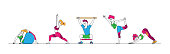 Male and Female Characters Stretching at Home or Gym, People Yoga and Sport Activity, Sports Exercises, Fitness Workout in Different Poses with Equipment, Healthy Lifestyle. Linear Vector Illustration