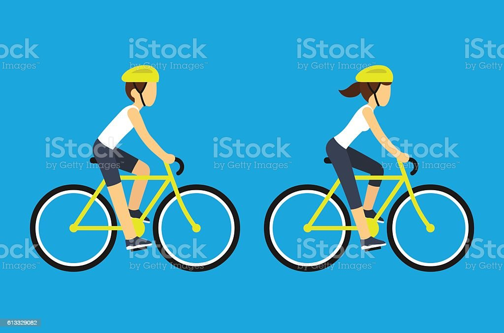 Male and female cyclists Male and female cyclists vector illustration. Man and woman riding sport bicycles, flat cartoon style. Active Lifestyle stock vector