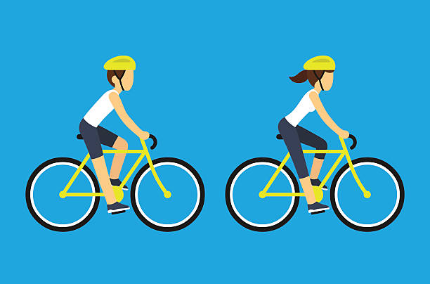 ilustraciones, imágenes clip art, dibujos animados e iconos de stock de male and female cyclists - andar en bicicleta