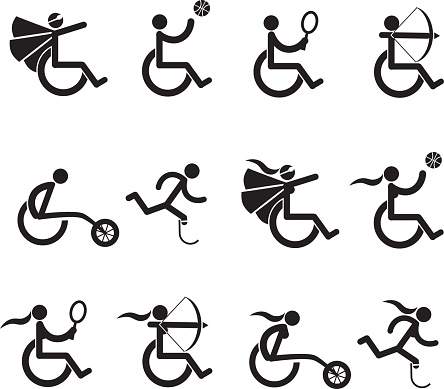Male and female disabled athletes icons symbol collection