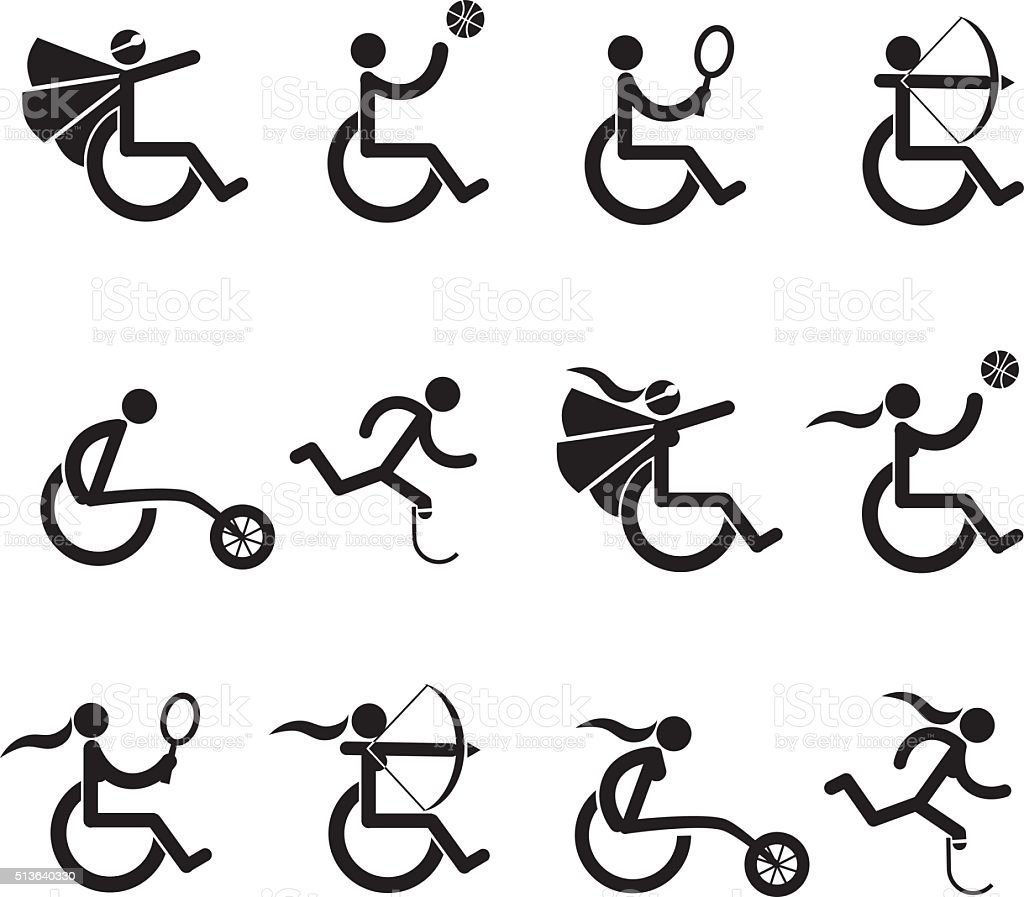 Male and female disabled athletes icons symbol collection vector art illustration