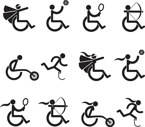 male and female disabled athletes icons symbol collection - wheelchair sports stock illustrations, clip art, cartoons, & icons