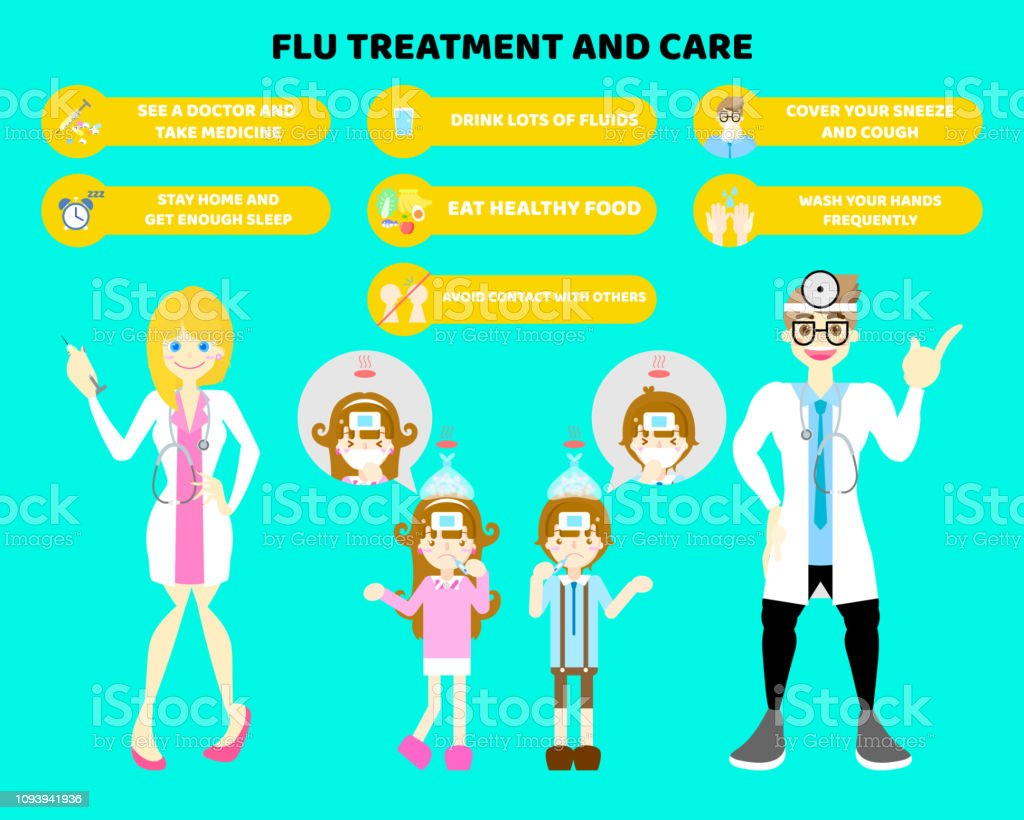 male and female doctor with illness fever flu symptoms boy and girl coughing,sneezing health care infographic concept vector art illustration