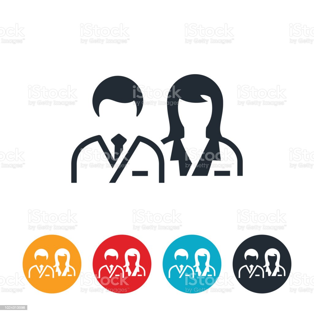Male and Female Doctors Icon vector art illustration