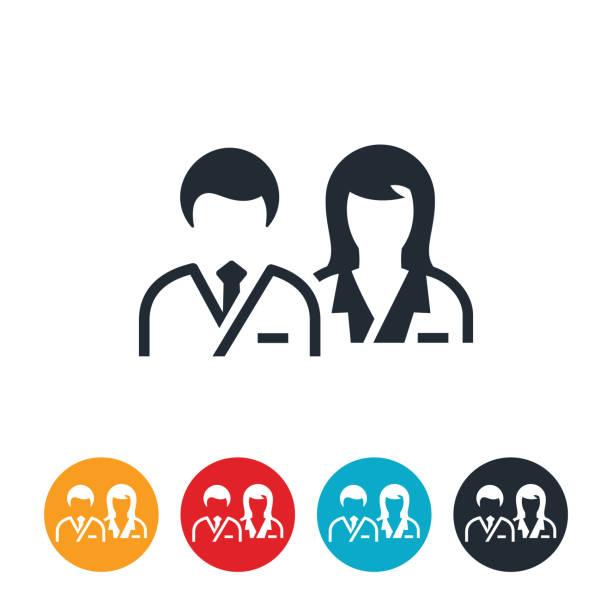 illustrazioni stock, clip art, cartoni animati e icone di tendenza di male and female doctors icon - dottoressa