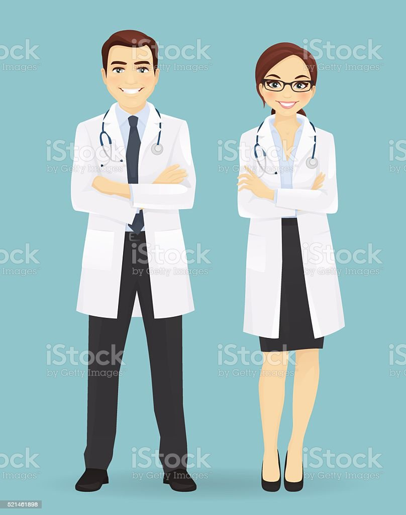 Male and female doctors isolated. vector art illustration