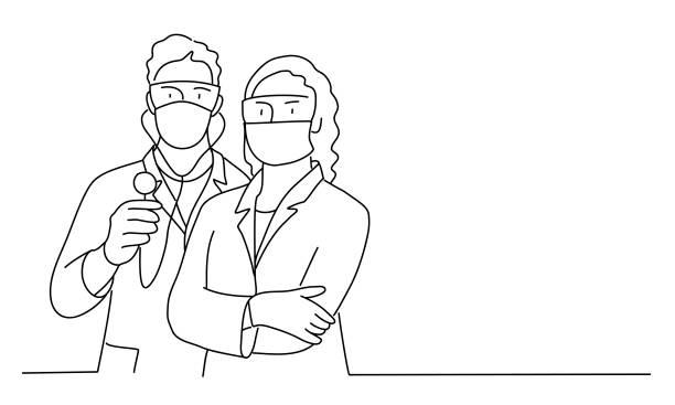 illustrations, cliparts, dessins animés et icônes de médecins masculins et féminins avec un masque. - medecin covid