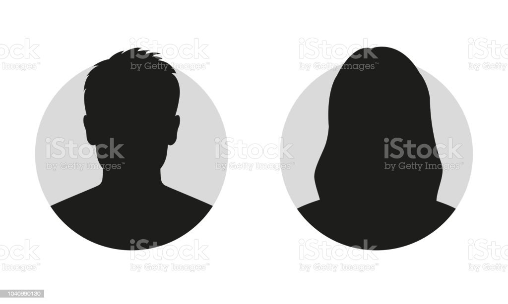 Male and female face silhouette or icon. Man and woman avatar profile. Unknown or anonymous person. Vector illustration. - Royalty-free Adulto arte vetorial