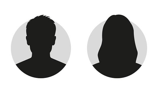 Erkek Ve Kadın Yüz Siluet Veya Simge Erkek Ve Kadın Avatar Profil Bilinmeyen Veya Anonim Kişi Vektör Çizim Stok Vektör Sanatı & Adamlar'nin Daha Fazla Görseli