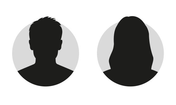 Male and female face silhouette or icon. Man and woman avatar profile. Unknown or anonymous person. Vector illustration. Male and female face silhouette or icon. Man and woman avatar profile. Unknown or anonymous person. Vector illustration. human head stock illustrations