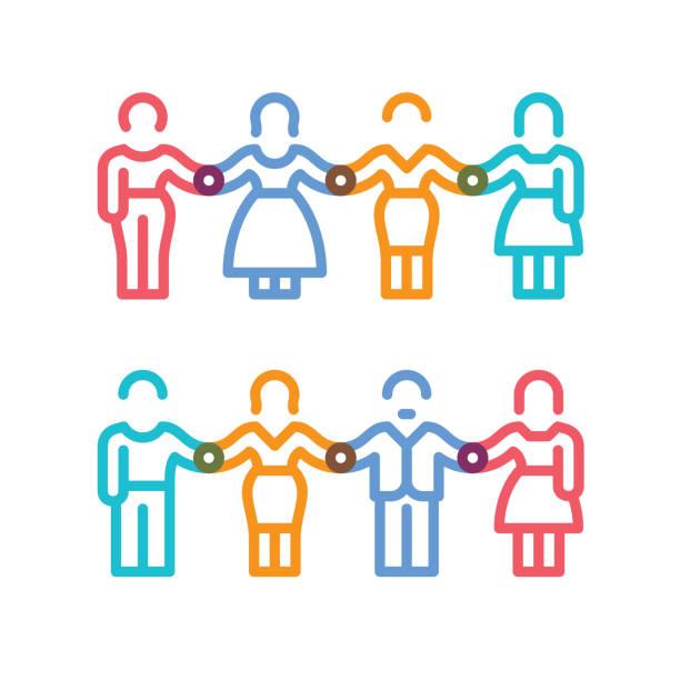 illustrazioni stock, clip art, cartoni animati e icone di tendenza di male and female figures holding hands - near