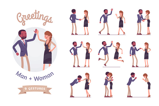 Male and female friends greeting set clipart