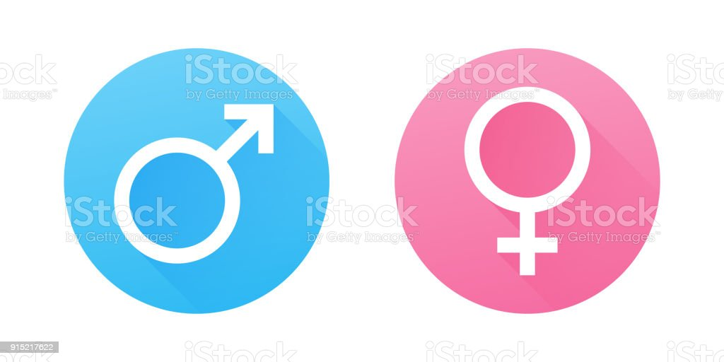 Male And Female Gender Symbols Flat Design Vector Icons Stock Vector