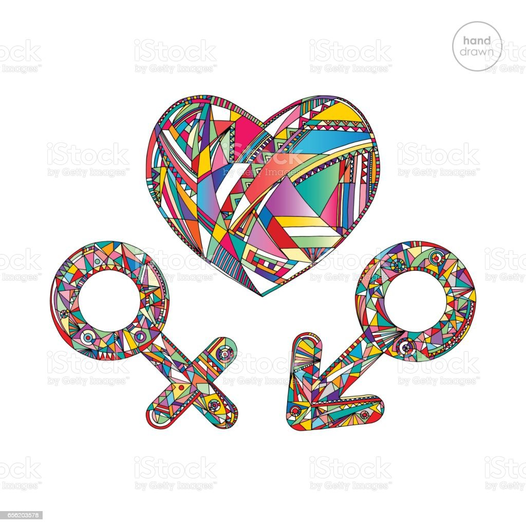 Male And Female Gender Symbols Set And Heart Vector Illustration