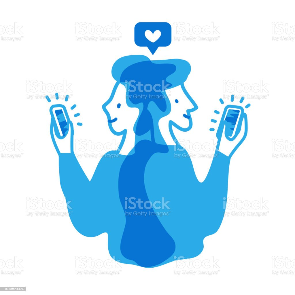 Male and female give likes to each other on social media apps. Monochrome vector illustration about online dating and romantic relationships on social networks. EPS10. vector art illustration