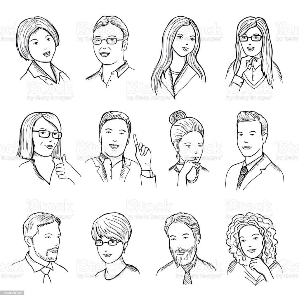 Male and female hand drawn illustrations for pictograms or web avatars. Different business faces with funny emotions. Vector pictures set vector art illustration