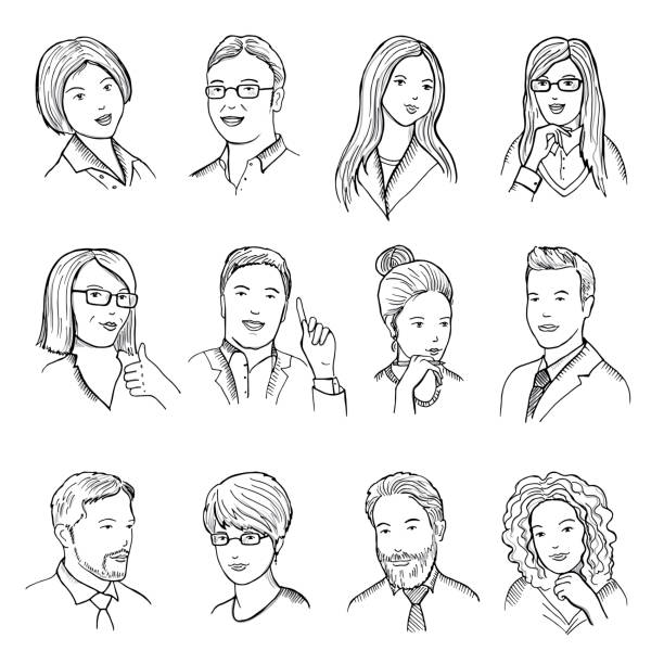 männliche und weibliche handgezeichneten illustrationen für piktogramme oder web avataren. verschiedene business-gesichter mit lustigen emotionen. vektor-bilder-set - portrait man stock-grafiken, -clipart, -cartoons und -symbole