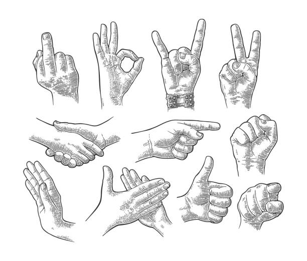 male and female hand gesture set - гравировка stock illustrations