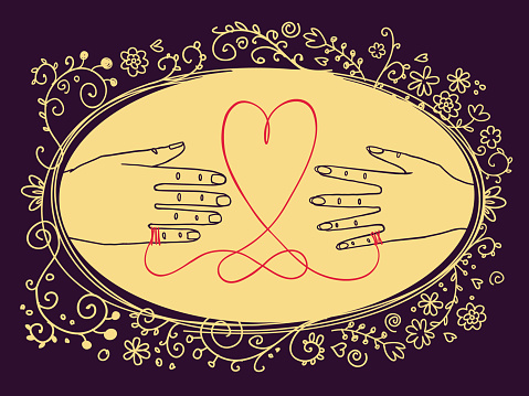 Male and female hands connected by the red string with heart shape loop and eternity symbol knot and oval floral frame.