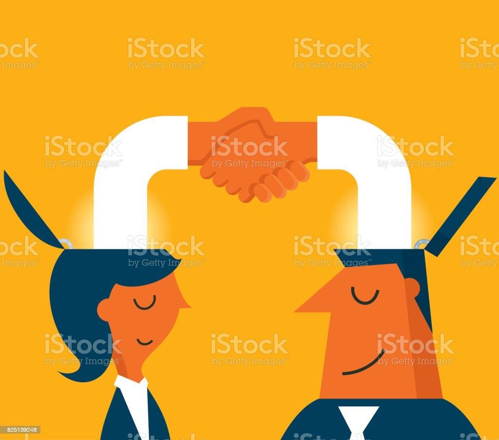 Male and female handshake vector art illustration