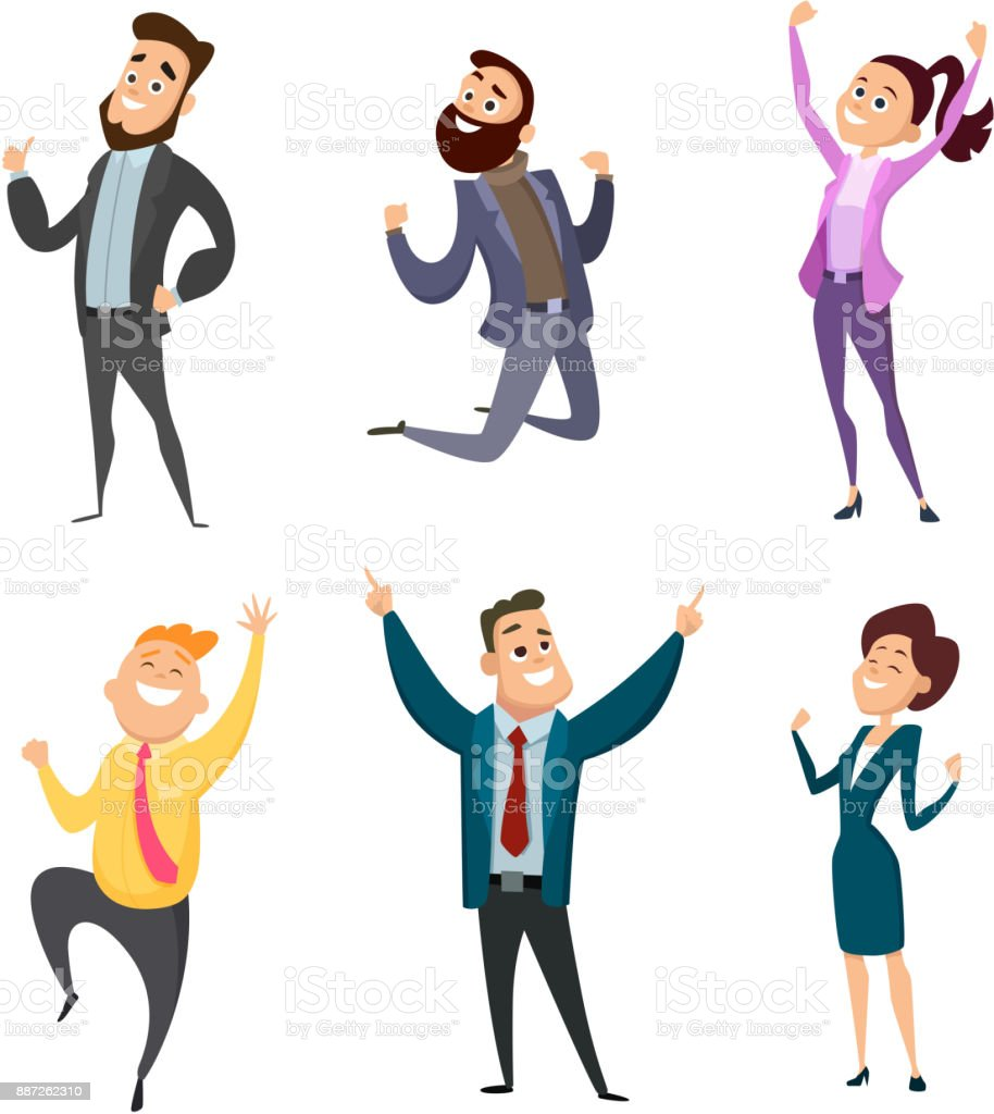 Male and female happy businessmen in action poses vector art illustration