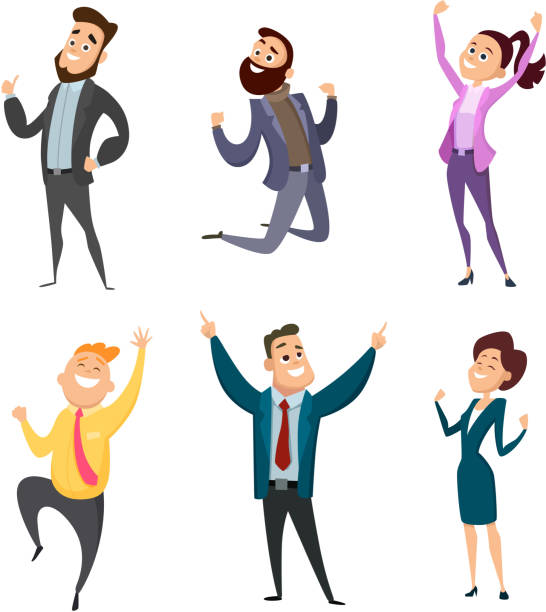 male and female happy businessmen in action poses - cheerful stock illustrations