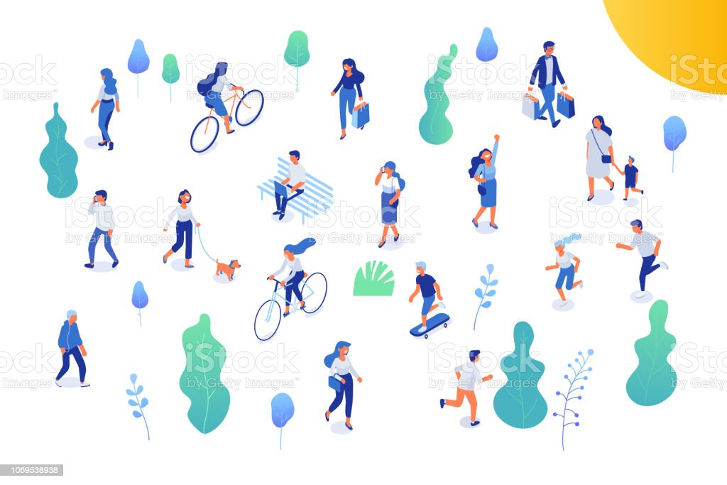 Male and female have outdoor activity in park. royalty-free male and female have outdoor activity in park stock illustration - download image now