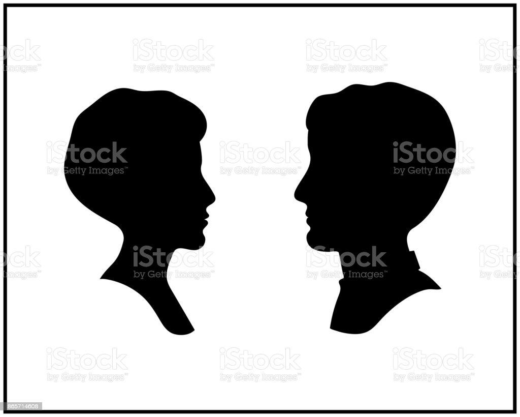Vetores De Silhuetas De Perfil Cabeca Masculina E Feminina Vector