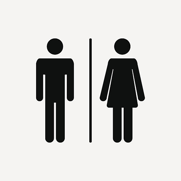 Male and female  icon Male and female WC icon denoting toilet and restroom facilities for both men and women with black male and female silhouetted figures bathroom symbols stock illustrations