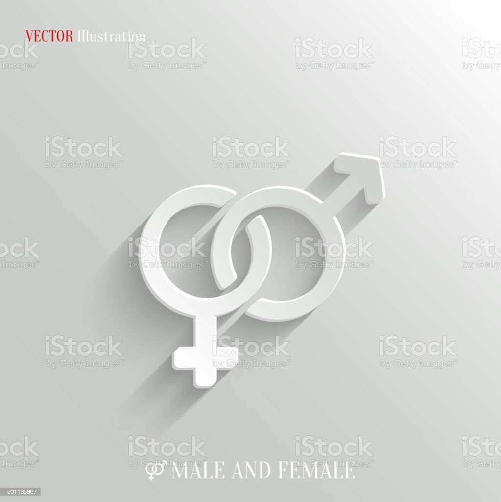 Male and female icon - vector white app button vector art illustration