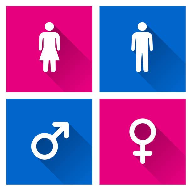 ilustraciones, imágenes clip art, dibujos animados e iconos de stock de iconos masculinos y femeninos con sombra - fémina