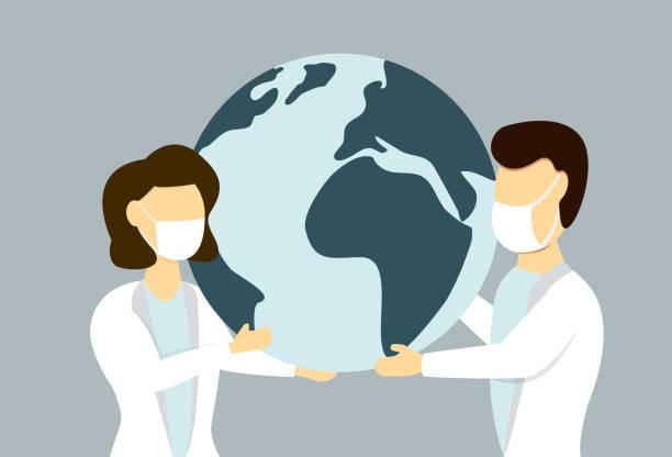 持有地球儀的醫療面罩的男性和女性向量藝術插圖