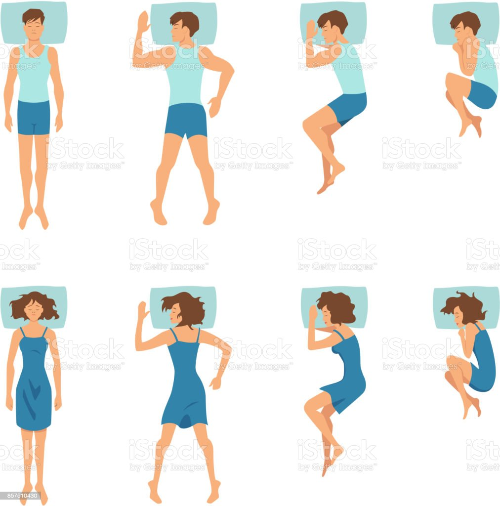 Male and female in sleeping poses. Top view illustrations of relaxing positions vector art illustration