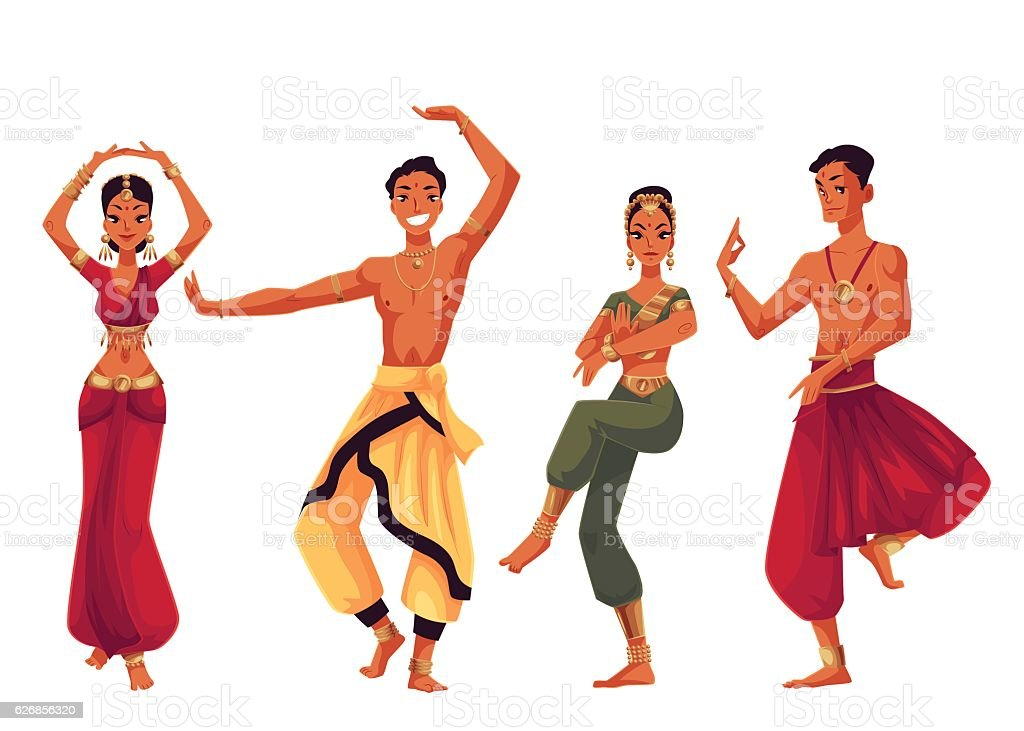 Male and female Indian dancers in traditional national costumes vector art illustration