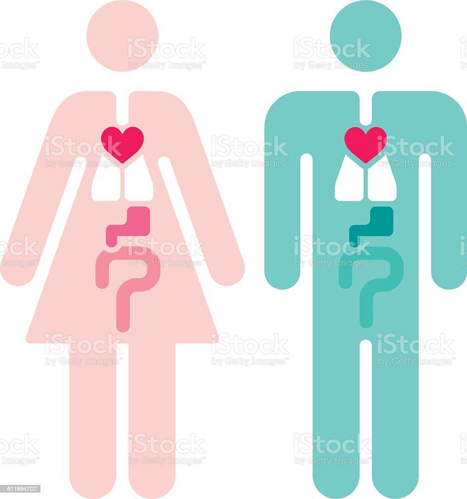 Male and Female Internal Organs Symbols vector art illustration