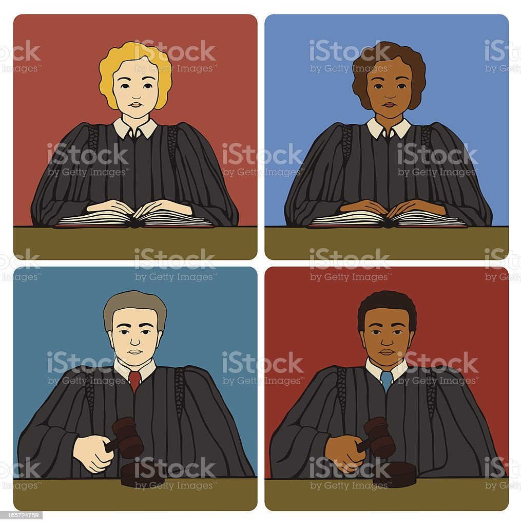 Male and Female Judges vector art illustration