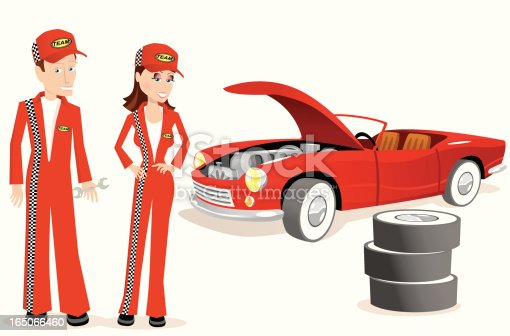 istock Male and female mechanics with old convertible 165066460