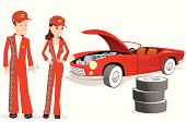 Male and female mechanics with old convertible