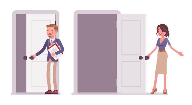 männliche und weibliche büro sekretärin öffnen einer tür - mann tür heimlich stock-grafiken, -clipart, -cartoons und -symbole