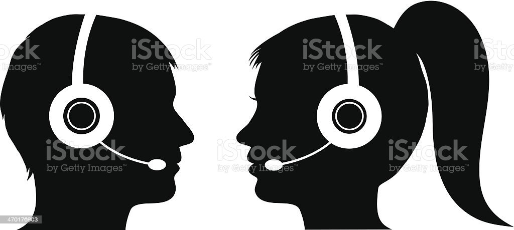 Male and female operator in call center vector art illustration