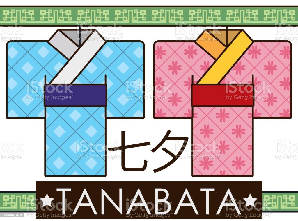 Calendario Lunare 1978.Male And Female Paper Kimonos In Flat Style For Tanabata