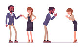 Male and female partners greeting. Black man, white woman, fist bump and namaste gesture. Business manners and etiquette concept. Vector flat style cartoon illustration isolated on white background